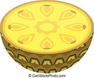 Half pineapple icon, isometric style