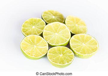 Half portion citrus lime slice on white background