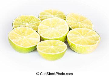 Half portion lime slice on white background