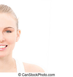 beautiful face of skin, eyes and white teeth with copy space