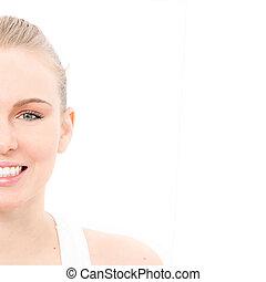 half portrait of beutiful skin,teeth and eyes