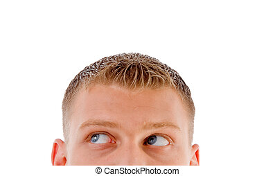 half pose male's face looking sideways - half pose male\\\'s...