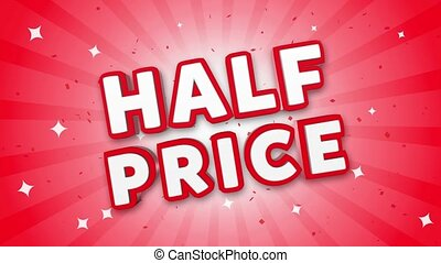 Half Price 3D Text on Falling Confetti Background.