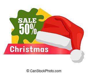 Half Price Christmas Sale Card Vector Illustration - Half...