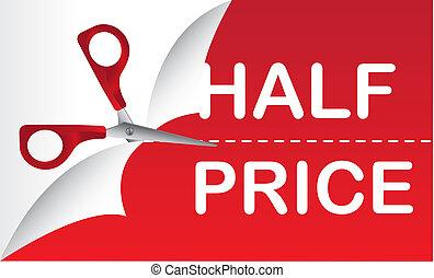 half price with red scissor, background. vector illustration