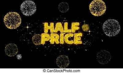 Half Price Golden Text Blinking Particles with Golden...