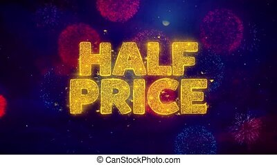 Half Price Greeting Text Sparkle Particles on Colored Fireworks