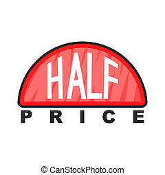 Half price label icon, cartoon style