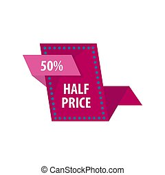Half price reduction good offer sale vector illustration -...