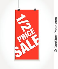 half price sale sign