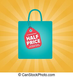 Half price sale sticker on package silhouette
