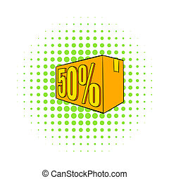 Half price, special offer icon, comics style