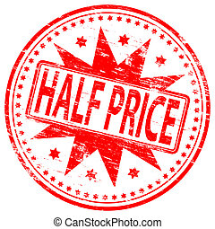 """Rubber stamp illustration showing """"HALF PRICE"""" text"""