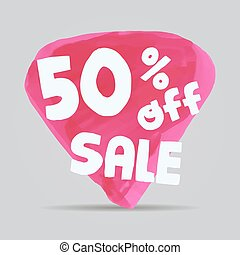 Half price tag. Special offer tag. Advertisement symbol. Isolated sale tag. Off tag. 50 off.