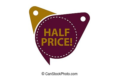 Half Price Tag Template Isolated