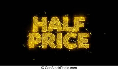 Half Price Typography Written with Golden Particles Sparks Fireworks