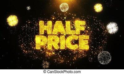 Half Price Wishes Greetings card, Invitation, Celebration Firework Looped