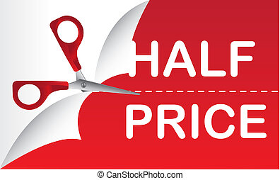 half price with red scissor, background. vector illustration
