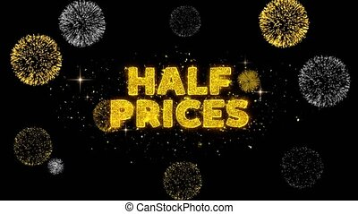 Half Prices Text Reveal on Glitter Golden Particles...