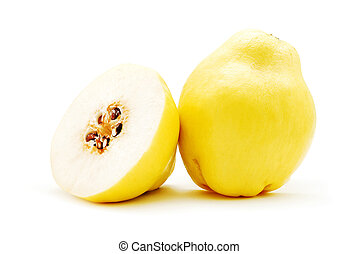 quince - half quince fruit on white