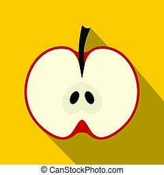 Half red apple icon, flat style