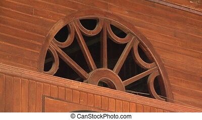 Half-round five-spoke wagon window wooden transom - A...