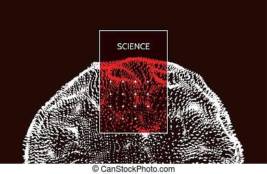 half-sphere, illustration., ciência, abstratos, modernos, dinâmico, particles., vetorial, points., matriz, grid., tecnologia, consistindo, element.