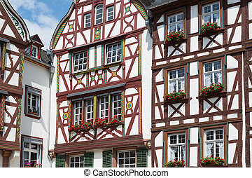 Half-timber houses of Bernkastel-Kues near the river Moselle in Germany