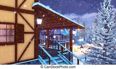 Half-timbered alpine house at snowy winter night - Close up...