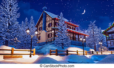 Illuminated half-timbered european rural house among snow covered fir trees at calm winter night with half moon in starry sky. With no people 3D illustration from my own 3D rendering file.