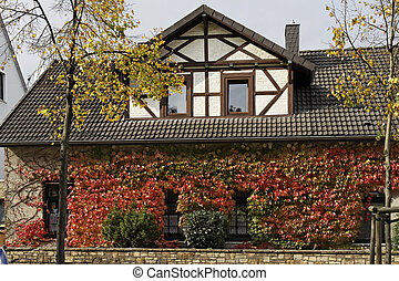 Half-timbered house in Germany - Half-timbered house with...