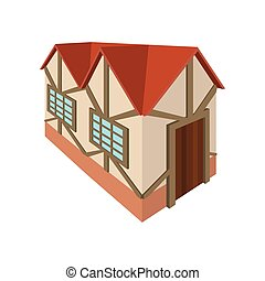 Half timbered house in Germany icon, cartoon style