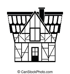 Half timbered house in Germany icon, simple style