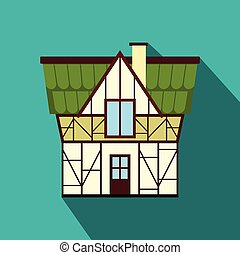 Half timbered house in Germany icon,flat style