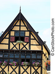 Half timbered house on the market square in  the centre of town