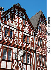 Half-timbered houses in the historical centre of Trier, the oldest city in Germany. This typical medieval houses were made of wooden frameworks (timbers). The spaces between the timbers were often infilled with wattle-and-daub, brick, or rubble.