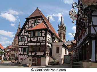 Half-timbered houses in the village centre of Dambach-la-Ville, Alsace, France