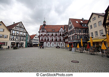 Half-timbered houses on the Marktplatz square in Bad Urach, Germany