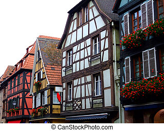 Half timbered of houses facades in Alsace - Obernai France