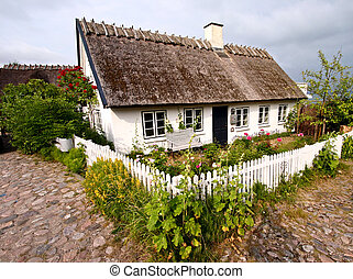 house - half timbered traditional house in denmark a sunny...