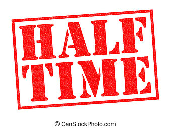 HALF TIME red Rubber Stamp over a white background.