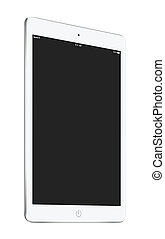 Half turned white tablet pc with blank screen mockup on the disp