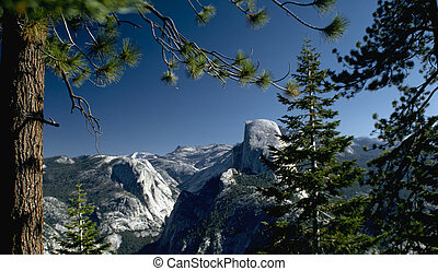 Halfdome Sideview - Halfdome from the side bracketed by ...