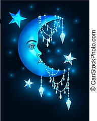 Halfmoon with human face and stars