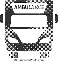 halftone, ícone, ambulância, -