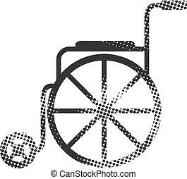 halftone, ícone, cadeira rodas, -