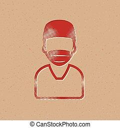 halftone, ícone, -, cirurgião
