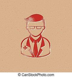 halftone, ícone, -, doutor