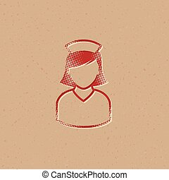 halftone, ícone, enfermeira, -