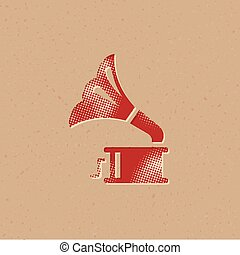 halftone, ícone, gramophone, -